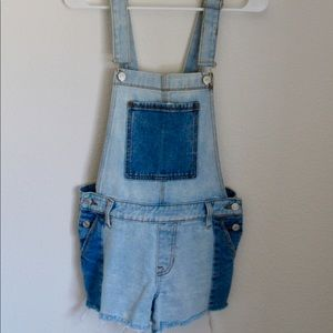 Multicolored Blue Overall Shorts